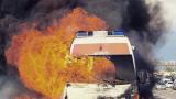 Вандали запалиха линейка и нарязаха гумите й в Бургас