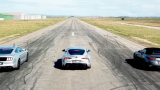 Автобитка: Toyota GR Supra срещу BMW Z4 M40i и Ford Mustang GT ВИДЕО