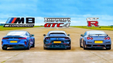 Адска драг гонка: Новият BMW M8 срещу Ferrari GTC4 и Nissan GT-R ВИДЕО